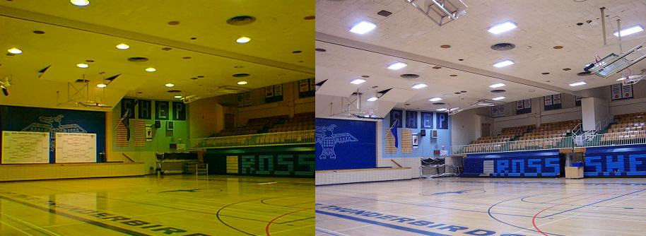 LED lighting solutions for a high school gymnasium